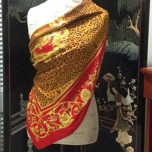 Leopard Red & Gold large scarf